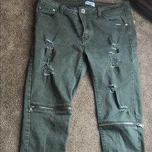 Denim - Army green Ripped Biker Jeans